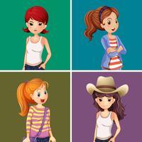 Vier Mädchen auf farbigem Hintergrund vektor