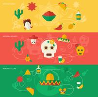 Mexiko platt banner set vektor