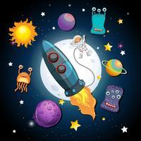 Ett rymdskepp och astronaut i rymden