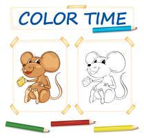Färgsmall med liten mus vektor