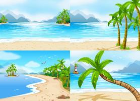Scener med strand och hav vektor