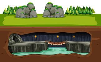 Unterirdische Höhle und Brücke
