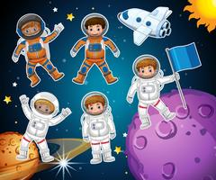 En uppsättning astronaut i rymden vektor
