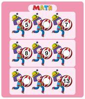 Mathe-Arbeitsblattvorlage mit Clowns und Bällen vektor