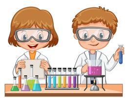 Mädchen und Junge, die wissenschaftliches Experiment tun vektor