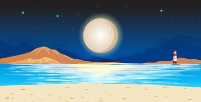 Ozeanszene mit Leuchtturm nachts