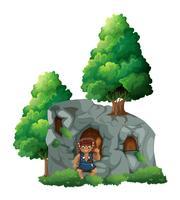 Caveman och en grotta