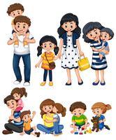 Olika aktiviteter med pappa och mor vektor