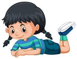 Kleines Mädchen mit schwarzen Haaren vektor