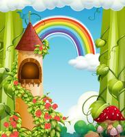 Regenbogen-Märchenschloss und Natur vektor