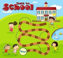 Brettspielvorlage mit Kindern in der Schule vektor