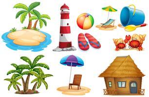 Sommaruppsättning med ö och bungalow