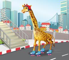 Giraffe, die Rollschuh spielt vektor