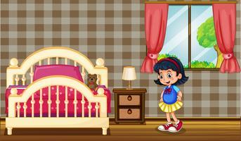 Liten tjej i sovrummet