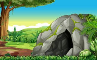 Skogsplats med grotta