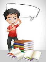 Glad pojke och bunke med böcker