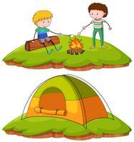 Pojkar camping i fältet