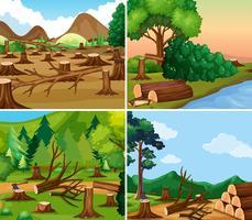 Fyra olika scener av avskogning vektor