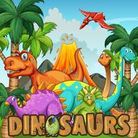 Olika typer av dinosaurier vid vulkanen