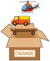 Kartonglåda med etikett orange