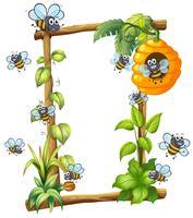 Biene auf Holzrahmen vektor