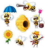 Aufkleberdesign mit vielen fliegenden Bienen vektor