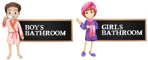 Badezimmerzeichen für Jungen und Mädchen vektor
