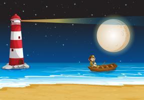 Szene mit Leuchtturm in der Nacht vektor