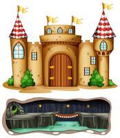 Ein Schloss und eine unterirdische Drachenhöhle vektor