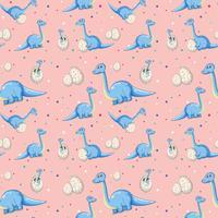 Blauer Dinosaurier auf nahtlosem Muster vektor