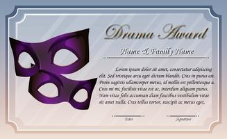 Zertifikatvorlage für Drama-Auszeichnung vektor