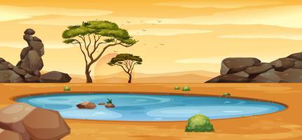 Scen med vattenhål på marken
