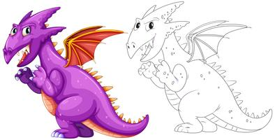 Djur skiss för drake med vingar vektor