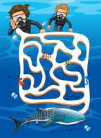 Dykning hitta hval haj labyrint spel vektor