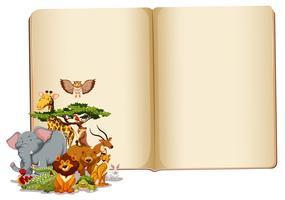 Sats med djur med tom bok vektor