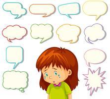 Mädchen mit unterschiedlichen Sprechblasen