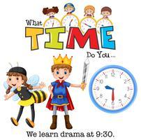 Eleverna lär sig drama klockan 9:30 vektor