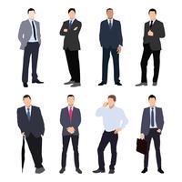 Samling av man silhuetter, klädd i affärsstil. Formell kostym, slips, olika poser.