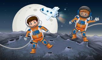 Två astronauter som utforskar på konstig planet