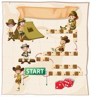 Brettspielvorlage mit Kindern am Campingplatz vektor