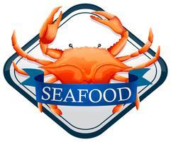 Frische Krabbe mit blauem Meeresfrüchtezeichen vektor