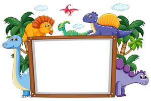 Eine Dinosaurier-Whiteboard-Vorlage vektor