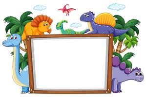 En dinosaur whiteboard mall vektor