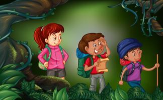 Tre personer vandrar i skogen