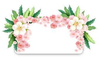 Gränsmall med rosa blommor vektor