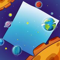 Gränsmall med många planeter i rymden