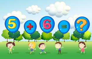 Mathe-Arbeitsblatt mit Kindern im Park vektor