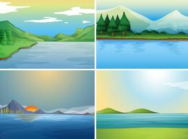 Fyra bakgrundsscenarier med sjö och kullar vektor