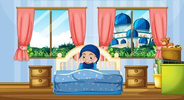 Ein muslimisches Mädchen im Schlafzimmer vektor