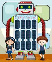 Zeittabellenplan mit Kindern und Roboter im Hintergrund vektor